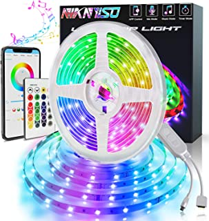 Led Strip Lights 32.8ft, Bluetooth Music Sync Color Changing 5050 RGB 300 Led Rope Lights with Remote, 12 V Power Supply LEDs Light Strips Kit for Indoor Bedroom Kitchen Home and Outdoor Decoration