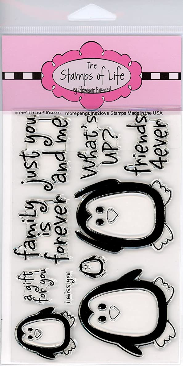 Cute Penguins Clear Stamps for Scrapbooking and Card-Making by The Stamps of Life - MorePenguins2Love Family Sentiments