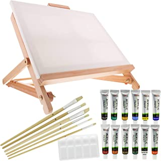 US Art Supply 21pc Acrylic Painting Table Easel Set with, Ac
