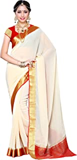 Mimosa Women's Traditional Chiffon Silk Saree Kanjivaram Style With Blouse Color:Off White(3309-2095-HWT-RED)