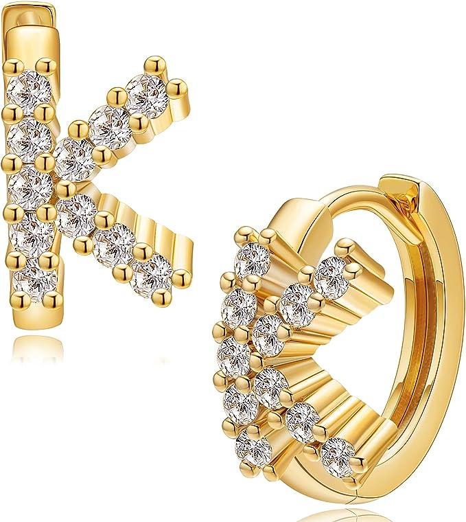 Moodear Gold Initial Huggie Hoop Earrings for Women 18K Gold Plated Pave Cubic Zirconia 26 Letter Alphabet Dainty Initial A-Z Hoop Earrings Minimalist Personality CZ Earrings Initial Jewelry Gift
