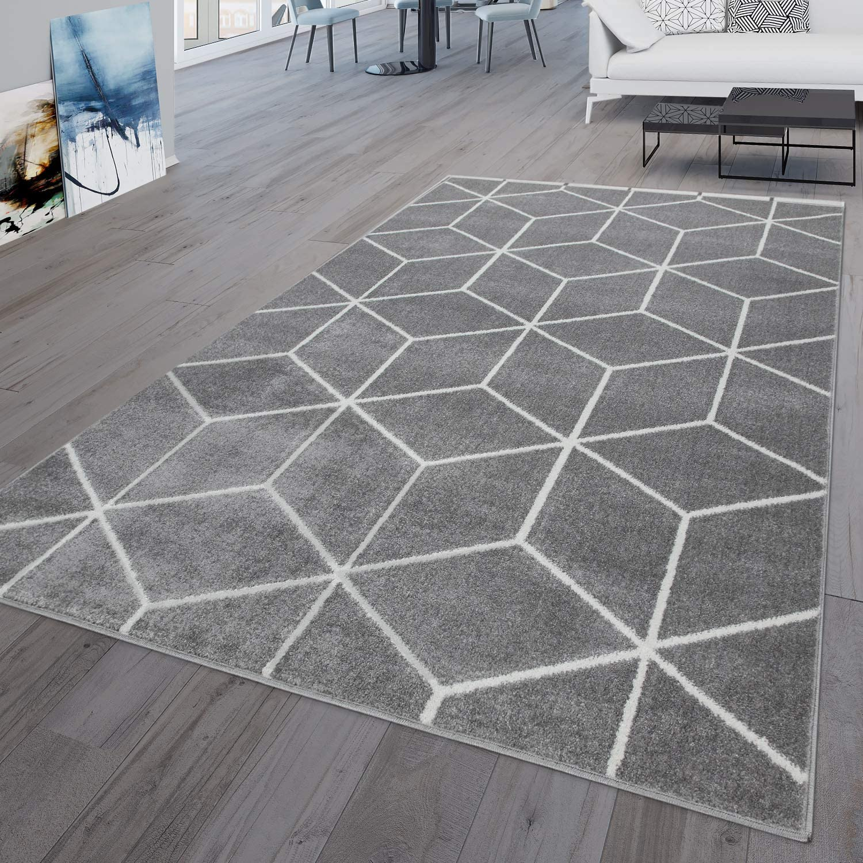 TT Home Grey Rhombus Scandinavian Style Short Pile Living Room Rug, grey,  20x20 cm