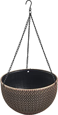 Rustic Hanging/Base Combo Planter Antique Look Plastic Flowerpot Nursery for Indoor, Outdoor, Garden Patio Office Ornaments Home Decor Use Long Lasting Reusable Light Weight (Copper-L)