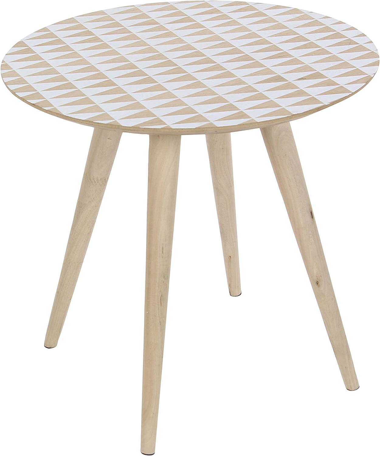 Deco 79 14869 Wooden Accent Table, Brown White