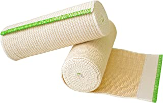 """NexSkin Elastic Compression Wrap (6"""" Wide, 2 Pack) with Hook and Loop Fasteners at Both Ends   Stretch Cotton Athletic Bandage Roll   Support & First Aid for Sports, Medical, and Injury Recovery"""