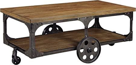 Ashley Furniture Signature Design - Vennilux Coffee Table - Cocktail Height - Rectangular - Metal Base with Brown Top