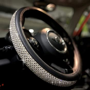 Universal 15 Inch Anti-Slip Diamond Leather PINCTROT Bling Bling Steering Wheel Cover for Women Girls with Crystal Rhinestones Silver