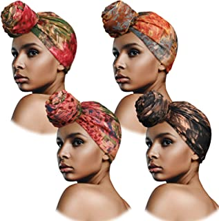 4 قطع أغطية الرأس النسائية عمامة نمط أفريقي غطاء الرأس وشاح عمامة قبعة أغطية الشعر للنساء