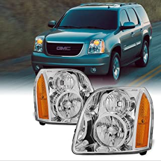For GMC Yukon XL Hybrid OE Replacement Chrome Bezel Headlights Driver/Passenger Head Lamps Pair