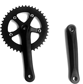 dolphin1986 Single Speed Crankset 44T 170mm Crankarms 110 BCD Crankset for Mountain Road Bike Fixed Gear Bicycle(Square Taper, Black) (44T Sprocket)