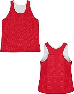PT Womens Mid Reversible Mesh Racerback Pinnies for Lacrosse,Soccer,Field Hockey (Red, Small/Medium)