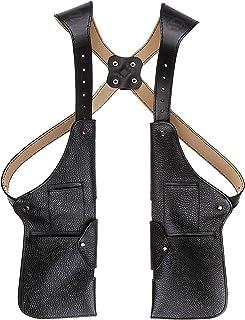 Handmade PU Leather Shoulder Waist Holster, Medieval Steampunk Anti-Theft Hidden Strap Wallet Cell Phone Pocket, Double Sh...