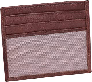 Laveri Genuine Leather Credit Card Holder Wallet Card Holder Slip for Unisex - Leather, Brown
