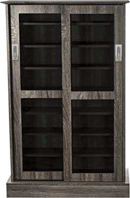 Atlantic Driffield Adjustable Media Cabinet - Tempered Glass Pane Styled Sliding Doors; Store 216 Blu-Rays, 192 DVDs or 576; 6 Adjustable, 1 Fixed Shelves; 49 X 32 X 9.5 inches; PN38408084