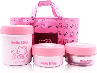 Finex Set of 4 Hello Kitty Food Safe Storage Box with Insulated Lunch Bag - One Large Two Small One bag