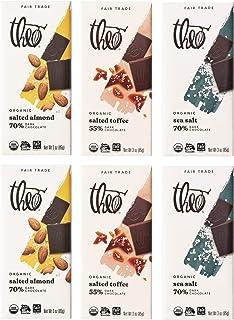 Theo Chocolate Organic Dark Chocolate + Sea Salt Variety 6 Pack | 3 Different Flavors, 2 of Each Bar | Chocolate Gift, Fai...