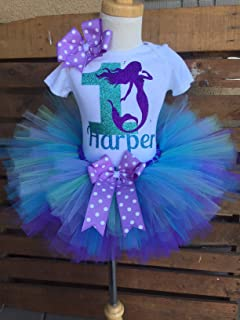 Mermaid Birthday Tutu Outfit Set Dress Shirt First Birthday 1st Summer Shell Under the Sea Personalized