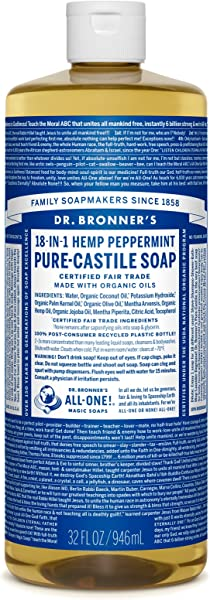 Dr Bronner S Pure Castile Liquid Soap Peppermint 32 Ounce Made With Organic Oils 18 In 1 Uses Face Body Hair Laundry Pets And Dishes Concentrated Vegan Non GMO