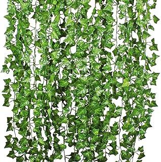YQing 12 Stukken Kunstmatige Klimop Guirlande, klimop Wijnstokken Planten Ivy Garland Bruiloft Home Keuken Tuin Kantoor Br...