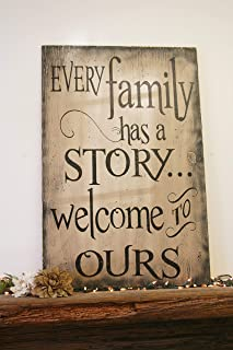 Every Family Has A Story Welcome To Ours, Rustic Wood Sign for Photo Wall