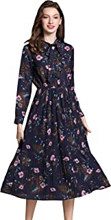 Women's Vintage Floral Printed Lotus Sleeves Elastic Waist Pleated Swing Cocktail Party Midi Dress