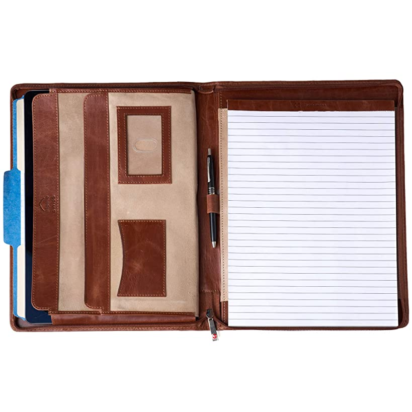 Alpine Swiss Genuine Leather Writing Pad Portfolio Business Case for Left & Right Handed Use with Tablet Sleeve