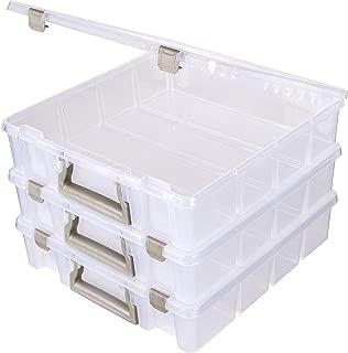 ArtBin Super Satchel 1-Compartment Box, Clear & Gold, 3 Pack, Open Core