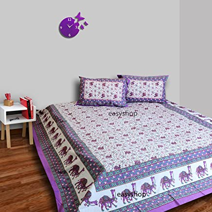 traditional mafia Floral Vine-00% Pure Cotton Printed Double Bedsheet with 2 Pillow Covers,  King Size,  King Purple