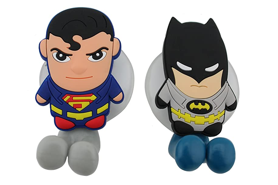 FINEX FinexSet of 2 DC Comics Superheroes Batman vs & Superman Toothbrush Holders with Suction Cup for Wall in Bathroom at Home