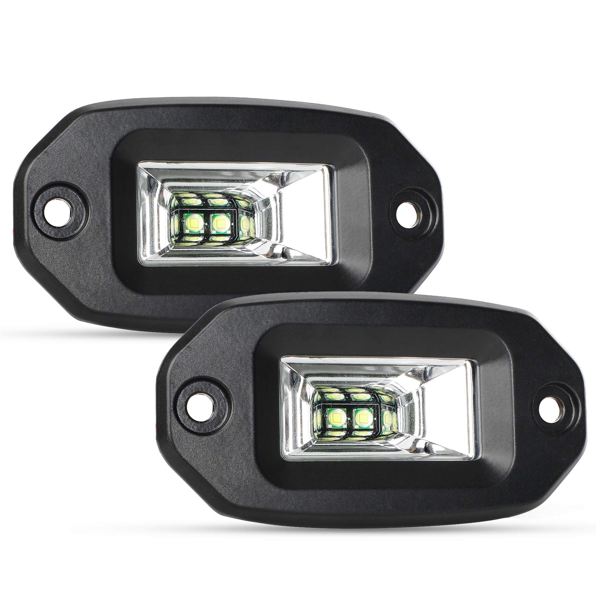 Spot Flood Combo Beam Driving Fog Lamps 1920LM 24W OSRAM LED Light Bar Off Road Work Light MICTUNING Unlimited-GO 4 Inch Quad Row LED Pods 2 Packs