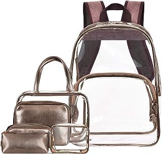 NiceEbag 6 in 1 Clear Backpack w/Cosmetic Bags Heavy Duty School Bookbag w/