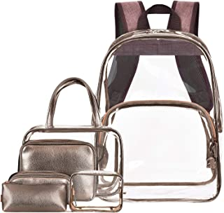 NiceEbag Clear Backpack with Cosmetic Bags Heavy Duty School Bookbag with Makeup Bag Set See Through Travel Backpack Stadium Approved Transparent Backpack for Girl Boy Adult Women Men(6Packs,Bronze)