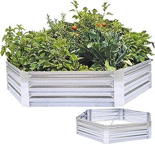 FOYUEE Metal Raised Garden Bed Galvanized Steel Planter Box Outdoor Vegetables Herb Patio Gardening Hexagon, 5 x 1ft