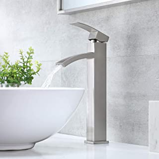 """VCCUCINE Contemporary Modern Brushed Nickel 12.52"""" Tall Bathroom Vessel Sink Faucet, Single Handle Stainless Steel Sink Fa..."""