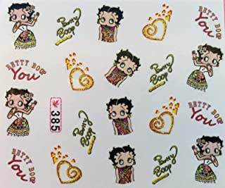 Nail Art Water Decals Betty Boop Hearts
