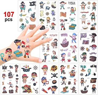 Konsait 107 Pcs Kids Tattoos Pirate Temporary Tattoos for Girls Boys Kids Party Bag Filler Children's Birthday Gift Pirate Party Supplies Favors