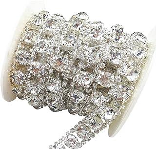 AEAOA 1 Yard 2 Rows 2.5mm Costume Applique Clear Crystal Rhinestone Silver Chain Sew On Rhinestone Wedding Cake Decoration