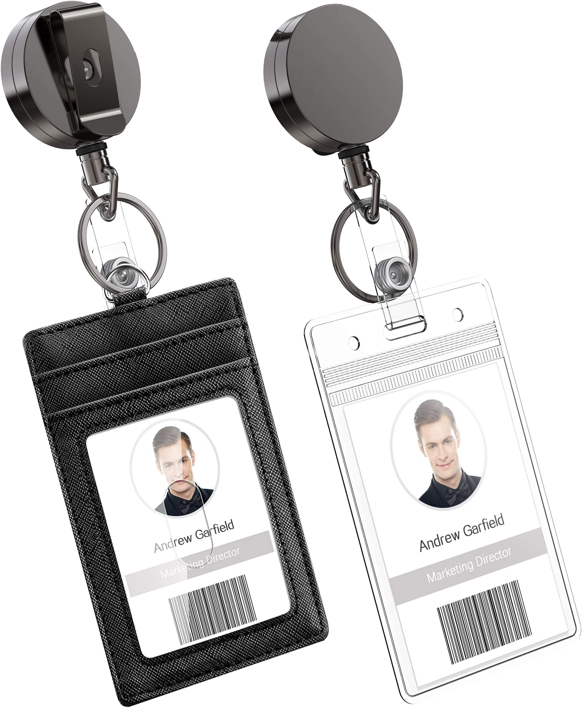 Belt Clip Name Tag Card Holder ID Lanyard Retractable Pull Keychain Badge Reel