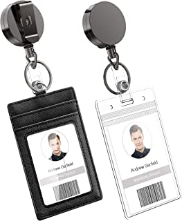 Heavy Duty Metal Retractable Badge Holder Reel with Belt Clip Key Ring, Waterproof Vertical Clear ID Card Holder and PU Le...