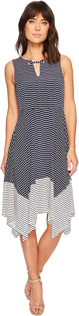 Ivanka Trump Matte Jersey Stripe Handkerchief Hem Grommet Sleeveless Dress