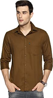 LEVIZO 100% Cotton Plain Solid Casual Shirt Full Sleeves for Men
