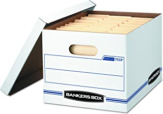Bankers Box Storage Box with Lift-Off Lid, Letter/Legal, 12 x 10 x 15 Inches, White (00703)