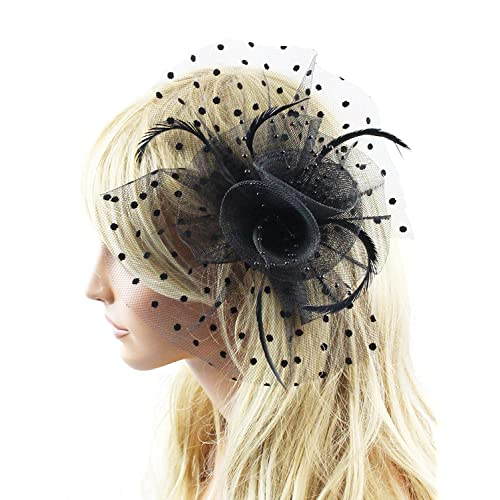 d5aabc24d26 Merya Dress DotVeil Kentucky Derby Fascinator Hats Feather Prom Cocktail Tea  Party Hats