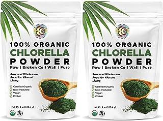 Earth Circle Organics - Certified Organic Chlorella Superfood Powder, Kosher, Cold Pressed, Broken Cell Wall, Vegan, High ...