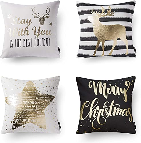 Phantoscope Set of 4 Decorative 100% Cotton New Merry Christmas Series Black and Golden Deer Letter Star Throw Pillow Cushion Cover 18 x 18 inches 45 x 45 cm