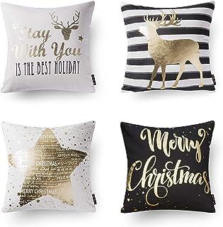 PHANTOSCOPE Set of 4 Decorative 100% Cotton New Merry Christmas Series Black and Golden Deer Letter Star Throw Pillow Cush...