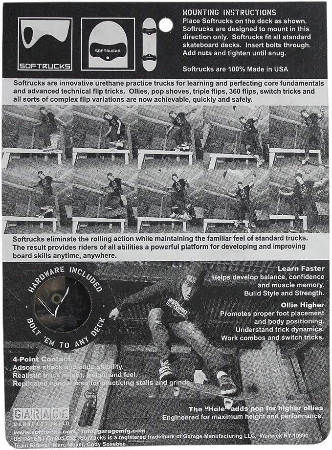 SOFTTRUCKS Skateboard Achsen Black Übungsachsen aus Gummi