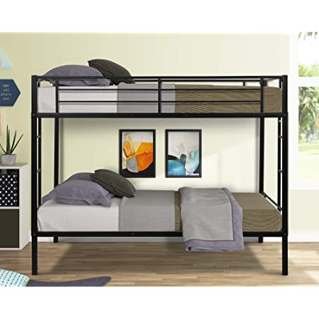 Amazon Com Dhp Full Over Full Bunk Bed For Kids Metal Frame With Ladder Black Furniture Decor
