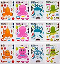 Kicko Make Your Own Stickers - Make a Sea Creature and Fish Sticker Sheets - 12 Pack Assorted - for Kids, Boys, Girls, Party Favors, Arts and Crafts, Home, Playing, Education, and Daycare
