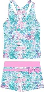 UNIFACO Girls Swimsuits Two Piece Tankini Bathing Suits Boyshort Summer Beach Rash Guard Swimwear for 4-13T